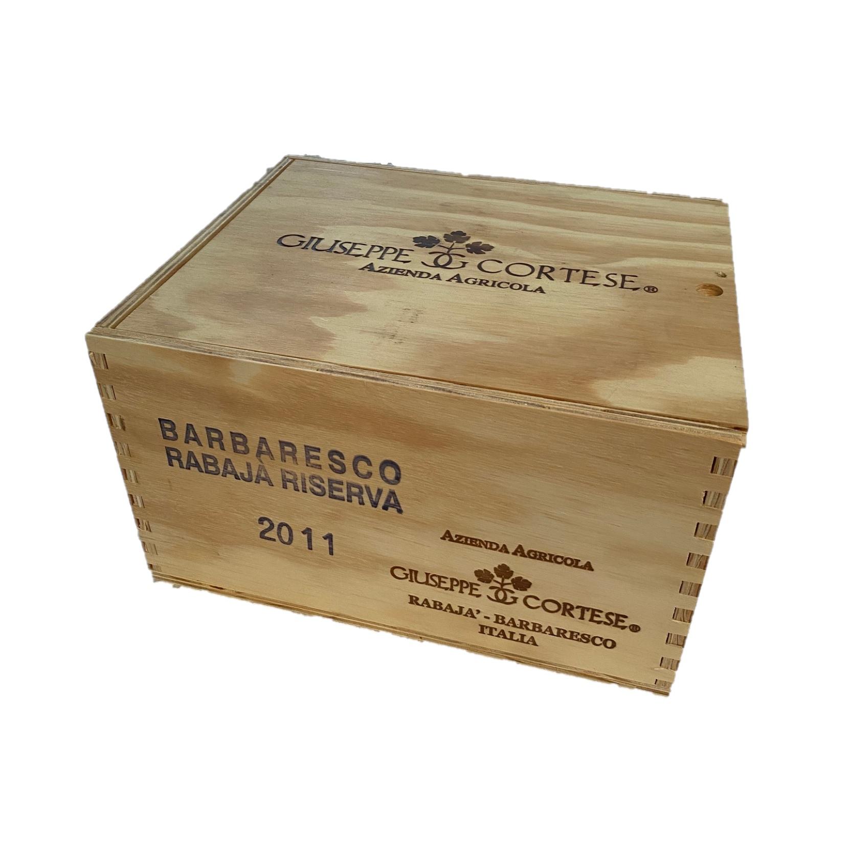 Puidust veinikast 6 pudeliga Giuseppe Cortese Barbaresco Rabaja Riserva DOCG 2011