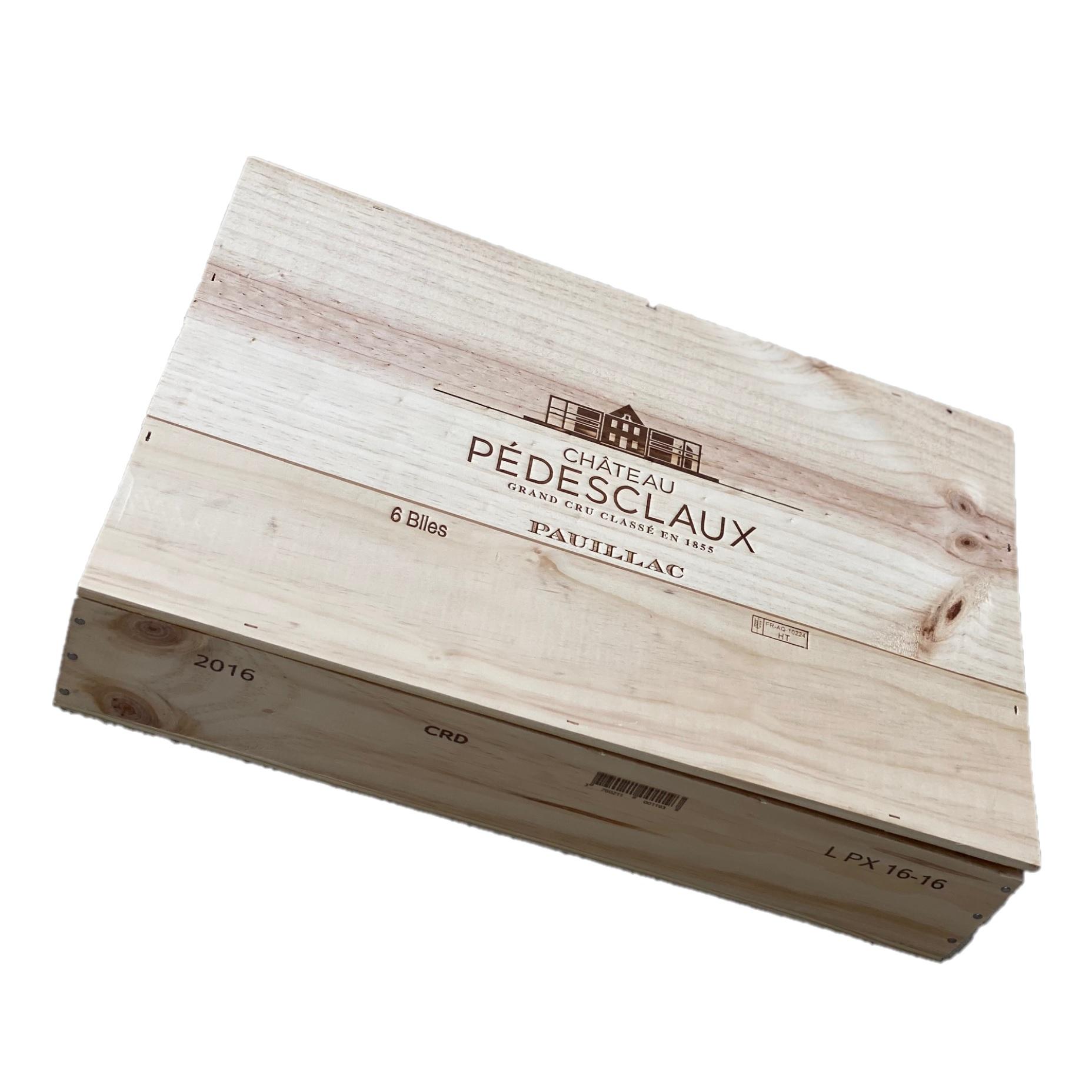 Puidust veinikast 6 pudelile Chateau Pedesclaux 5ème Grand Cru Classé Pauillac AOP 2016